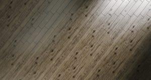 Realistischer Holzfußboden-Hintergrund in Sunny Room rendeing 3d Stockfotografie
