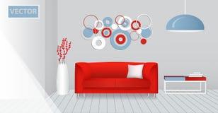 Realistischer Innenraum eines modernen Wohnzimmers Rotes ursprüngliches Design Stockfoto