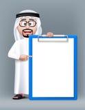 Realistischer intelligenter saudi-arabischer Charakter des Mann-3D Stockfoto