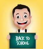 realistischer Jungen-Student Happy Smiling Holding der Schule3d Lizenzfreie Stockfotografie