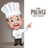 Realistischer junger freundlicher Berufskoch Character des chef-3D stock abbildung