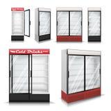 Realistischer Kühlschrank-gesetzter Vektor Abkühlende Getränke Kühlschrank-Gefrierschrank mit transparentem Glas Abbildung Lizenzfreies Stockfoto