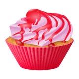 Realistischer kleiner Kuchen des Vektors, Muffins mit Sahne illustartion Vorrat der Ikone 3d Stockfoto