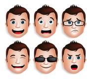 Realistischer Kopf des gutaussehenden Mannes mit verschiedenen Gesichtsausdrücken Stockbilder