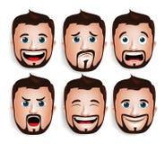 Realistischer Kopf des gutaussehenden Mannes mit verschiedenen Gesichtsausdrücken Lizenzfreie Stockfotos