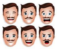 Realistischer Kopf des gutaussehenden Mannes mit verschiedenen Gesichtsausdrücken Stockfoto