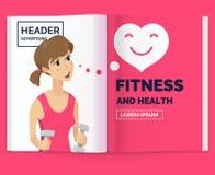 Realistischer Plan der Zeitschrift Öffnen Sie Broschüre mit Werbung für Eignung Stockbild