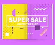 Realistischer Plan der Zeitschrift Öffnen Sie Broschüre mit Werbung für Verkauf Stockfotografie