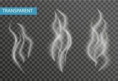 Realistischer Rauchsatz lokalisiert auf transparentem Hintergrund Zigarette, Dampfeffekt Stockfoto