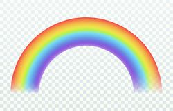 Realistischer Regenbogen Sommerfr?hlingshimmels des Farbbogens Lichtregen- und -sonneneffekt des frohen schillernder lokalisiert  lizenzfreie abbildung