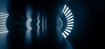 Realistischer runder Sciencefictions-Korridor mit Lichtern Stockfotos