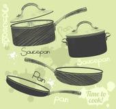 Realistischer Satz der Wannen und der Töpfe mit Bratpfannenkasserolle und -schüssel Lizenzfreies Stockbild