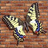 Realistischer Schmetterling auf einer Backsteinmauer Stockfotos
