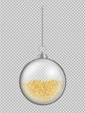 Realistischer transparenter Glasweihnachtsball Spielzeug des neuen Jahres mit gehen stock abbildung