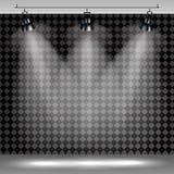 Realistischer transparenter Hintergrund der Scheinwerfer für Showwettbewerb oder -interview lizenzfreie abbildung