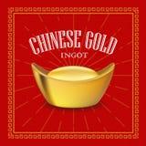 Realistischer Vektor des chinesischen Goldbarrens Stockbilder