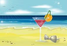 Realistischer Vektorhintergrund des Sommerferien-Strandfotos Lizenzfreie Stockfotos