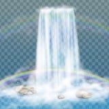Realistischer Wasserfall mit klarem Wasser, Regenbogen und Blasen Natürliches Element für Designlandschaftsbilder auf transparent Stockfotografie