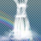 Realistischer Wasserfall mit klarem Wasser, Regenbogen und Blasen Natürliches Element für Designlandschaftsbilder auf transparent Stockbilder