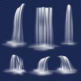 Realistischer Wasserfallsatz des Vektors Stockfoto