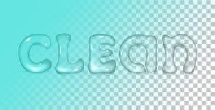 Realistischer Wasserguß des Vektors auf transparentem Hintergrund Beschriften sauber stock abbildung
