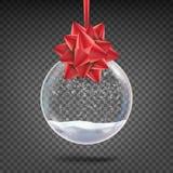 Realistischer Weihnachtsball-Vektor Glänzender Glas-Weihnachtsfeiertags-Baum-Toy With Snowflake And Red-Bogen auf transparentem vektor abbildung
