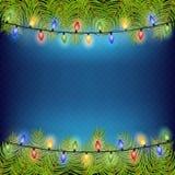 Realistischer Weihnachtsbaum-Tannenzweigrahmen für verzieren Vektorillustration ENV 10 lizenzfreie abbildung
