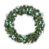 Realistischer Weihnachtskranz lokalisierte Ð-¾ Ñ 'Weißhintergrund Lizenzfreies Stockfoto