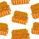 Realistisches ausführliches 3d Honey Combs Seamless Pattern Background Vektor Stockfotografie