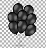 Realistisches Bündel schwarze Ballone Ballone 3d für schwarzen Freitag Getrennt auf weißem Hintergrund Auch im corel abgehobenen  Lizenzfreie Stockfotografie