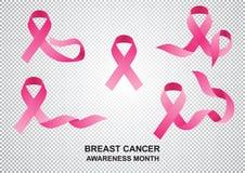 Realistisches Band des Monats, zum des Brustkrebses zu kämpfen stock abbildung