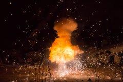 Realistisches brennendes Explosionssprengen Lizenzfreies Stockfoto