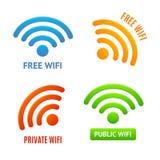 Realistisches 3d führte die eingestellten Farbe-Wifi-Zeichen-Ikonen einzeln auf Vektor Lizenzfreies Stockfoto