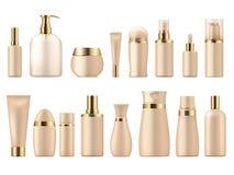 Realistisches kosmetisches Paket Modellshampooflaschen-Lotionspumpe des Goldschönheitsproduktes 3D Luxuspaketvektorschablone vektor abbildung