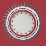Realistisches leeres rundes Schild mit Sternen und Spitzen herum, lokalisierte hohe Qualität 3d übertragen Stockbilder