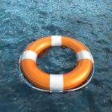 Realistisches lifebuoy auf Wasser Stockfotografie
