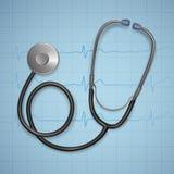 Realistisches medizinisches Stethoskop Hintergrund mit Stethoskopmedizinischer ausrüstung, Gesundheitswesenkonzept stockfotos