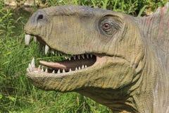 Realistisches Modell des Kopfes des Dinosauriers Stockfoto