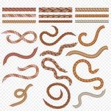 Realistisches nahtloses Seil und Seekabelvektorsatz stock abbildung