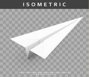 Realistisches Papierflugzeug in der isometrischen Ansicht mit transparentem Schatten Lizenzfreies Stockfoto