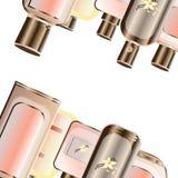 Realistisches Parf?m und duftender Toilettenwasserflaschenvektorsatz, stiegen rosa Farben mit Gold lizenzfreie abbildung