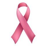 Realistisches rosa Band für Brustkrebsbewusstsein lokalisiert auf Weiß Lizenzfreie Stockfotos