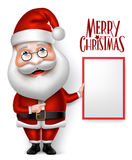 realistisches Santa Claus Cartoon Character Holding Blank Brett 3D Stockfotografie