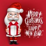 realistisches Santa Claus Cartoon Character Holding Christmas Geschenk 3D lizenzfreie abbildung