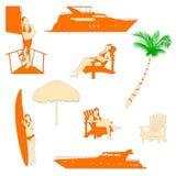 Realistisches Schattenbild der Stranderholung Stockfoto