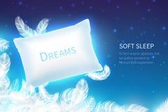 Realistisches Schlafkonzept Weiches Schlafkissen mit den Federn, Wolken und sternenklarem nächtlichem Himmel Schein oben Traum un stock abbildung