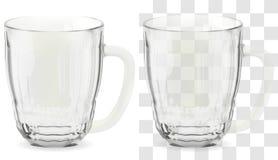 Realistisches transparentes Bierglas des Vektors Alkoholgetränkglasikonenillustration lizenzfreies stockbild