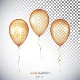 Realistisches transparentes Helium des Gold 3D steigt mit Konfettiisolator im Ballon auf Lizenzfreie Stockfotografie
