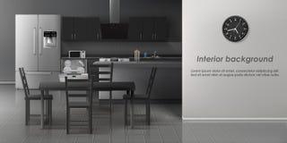 Realistisches Vektorinnenmodell der modernen Küche lizenzfreie abbildung