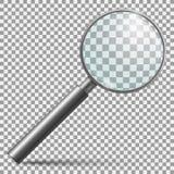 Realistisches Vergrößerungsglas Lupenlinse oder laut summender lokalisierter Vektor des Griffs der Lupe silbernes Instrument vektor abbildung